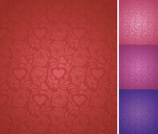 Seamless Elegant Valentine's Day Background Seamlessly-repeating elegant valentine's day background with hearts and roses in several colors. romance stock illustrations