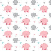 A vector illustration of a seamless repeating pattern of cute elephants and hearts.