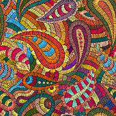 seamless embroidered pattern, ornament in the style of paisley, patchwork print, vector illustration