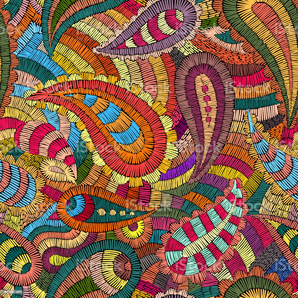 Seamless embroidered pattern. vector art illustration