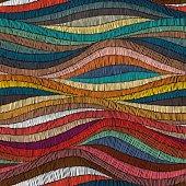Seamless embroidered pattern. Wavy bohemian print.