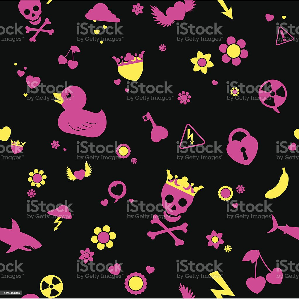 Seamless emo cartoon background royalty-free seamless emo cartoon background stock vector art & more images of animal
