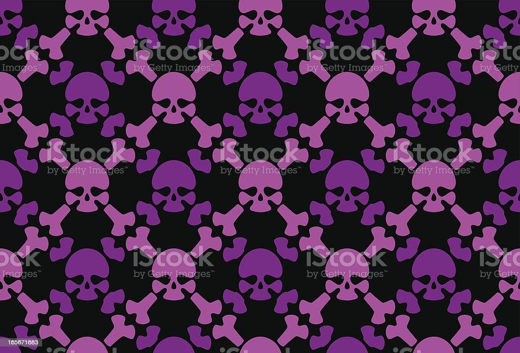 Seamless emo skulls pattern vector art illustration