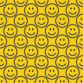 Seamless happy emoji pattern. Line smiley background