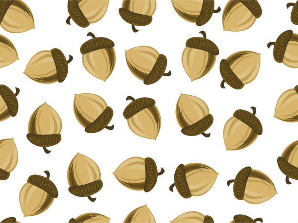 Seamless endless background with oak acorns vector art illustration