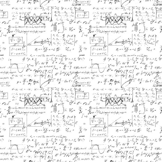 Seamless endless pattern background with handwritten mathematical formulas, math relationship or rules expressed in symbols, various operations such as addition, subtraction, multiplication, division vector mathematical formula stock illustrations