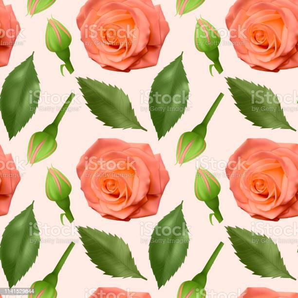 Seamless endless pattern with roses and leaves bright orange roses vector id1141529844?b=1&k=6&m=1141529844&s=612x612&h=fx93ulx2qcamcda9ee1qq1yzznt9lkj4 pt3dbczl c=