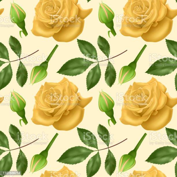 Seamless endless pattern with roses and leaves bright yellow roses vector id1141536714?b=1&k=6&m=1141536714&s=612x612&h=sjv6xwvjrew6qfuj lwy ptrj doqku6o2plxaoetue=