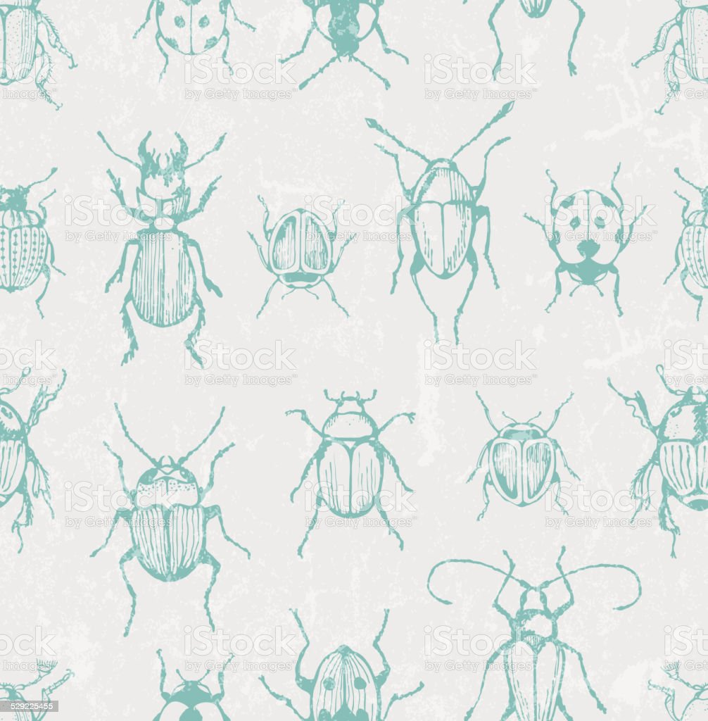 Seamless entomological vector pattern with  bugs vector art illustration