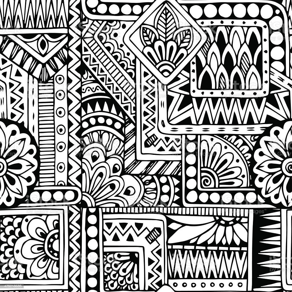 Sin costuras étnico Garabato blanco y negro de patrones de fondo de vector - ilustración de arte vectorial