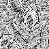 Seamless ethnic doodle black and white background pattern with feathers.