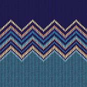 Seamless Ethnic Geometric Knitted Pattern. Style Blue Yellow Gre