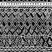 Seamless ethnic pattern. Black and white vector.