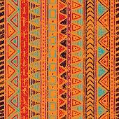 Seamless ethnic pattern. Grungy texture.