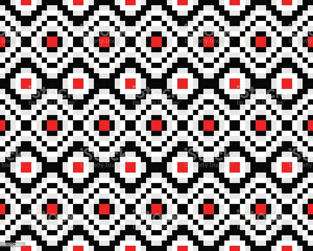 Hipster Background Is Black Red And White Royalty Free Seamless