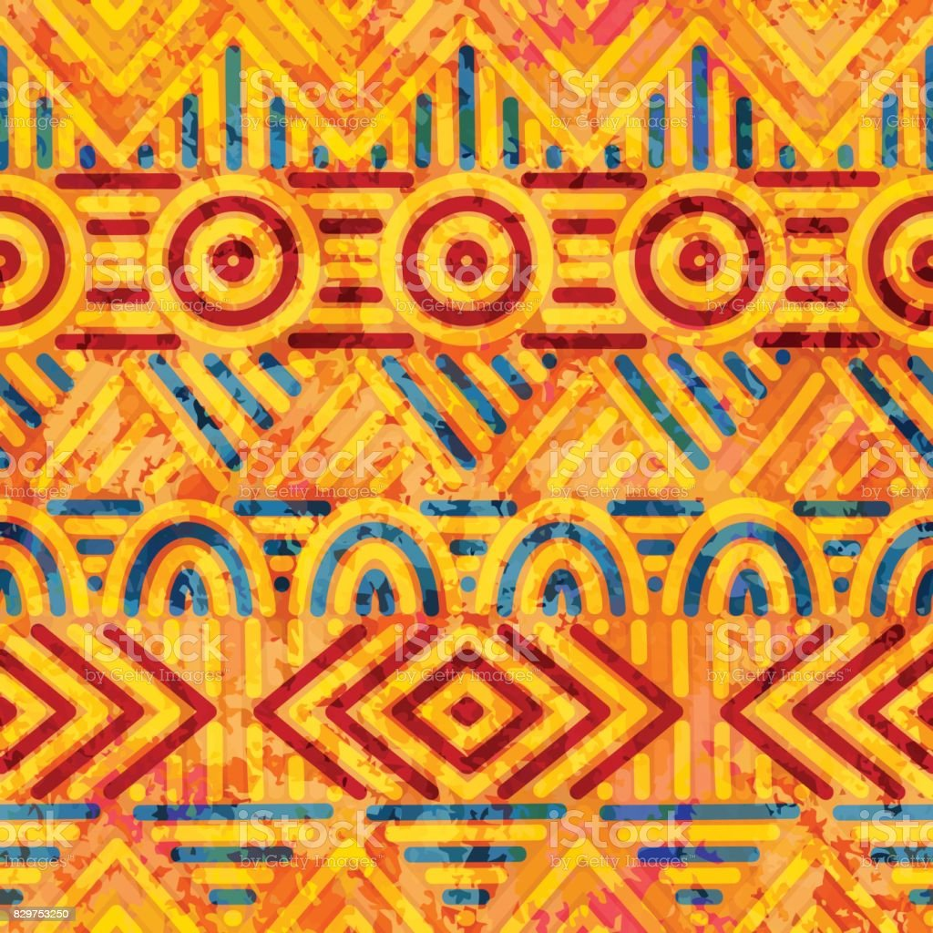 Seamless ethnic pattern. Orange and blue colors. vector art illustration