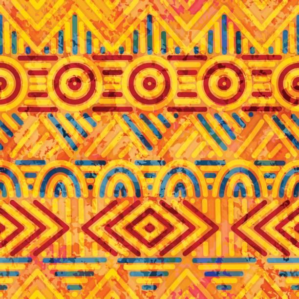 nahtlose ethnische muster. orange und blaue farben. - stoffmalerei stock-grafiken, -clipart, -cartoons und -symbole