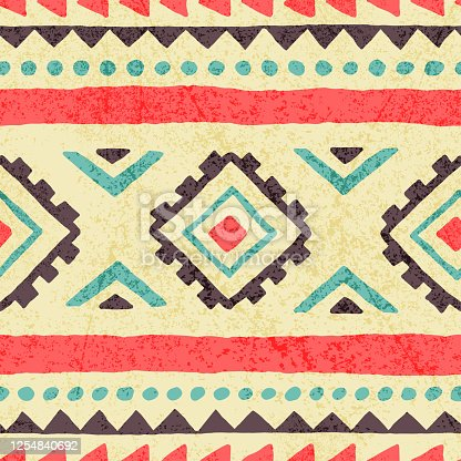 seamless ethnic pattern, grunge texture, summer vintage print for textiles, vector illustration