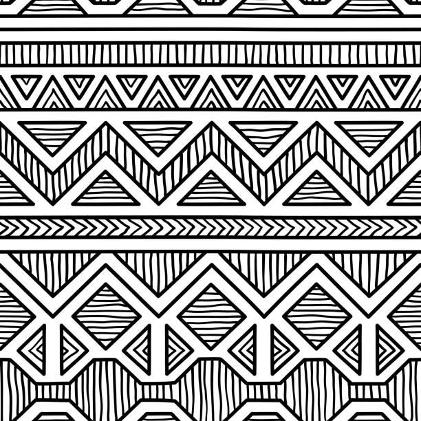 stockillustraties, clipart, cartoons en iconen met naadloze etnische patroon. - tribale kunst