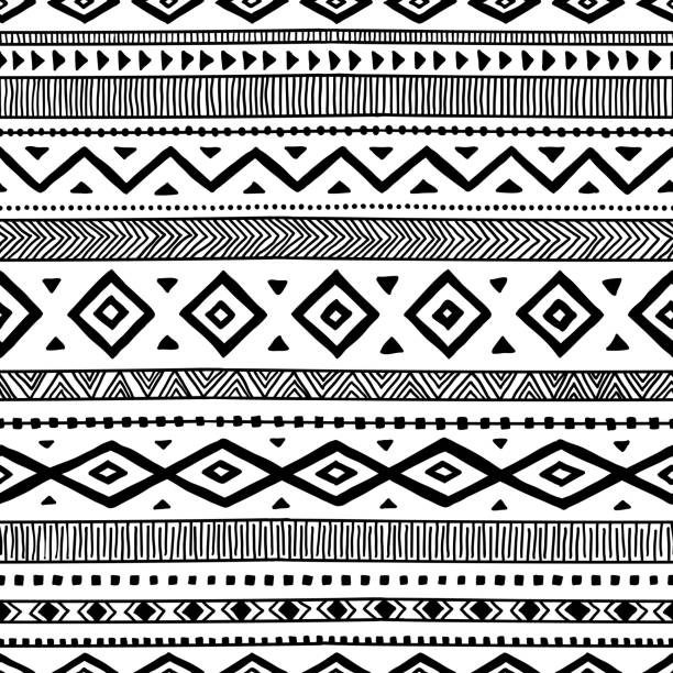 Seamless ethnic pattern. seamless ethnic pattern, handmade, horizontal stripes, black and white print for your textiles, vector illustration indigenous culture stock illustrations