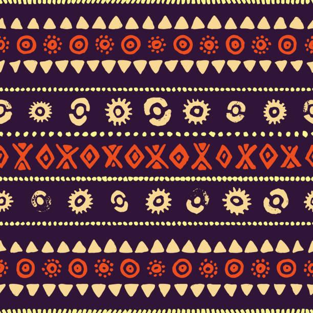 seamless ethnic pattern. vintage striped print. - tribal pattern stock illustrations, clip art, cartoons, & icons