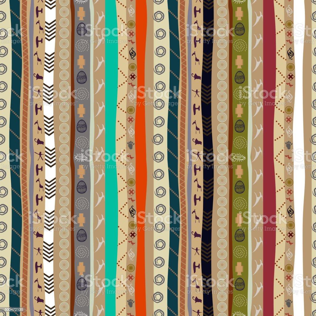 Seamless ethnic pattern with animals vector art illustration