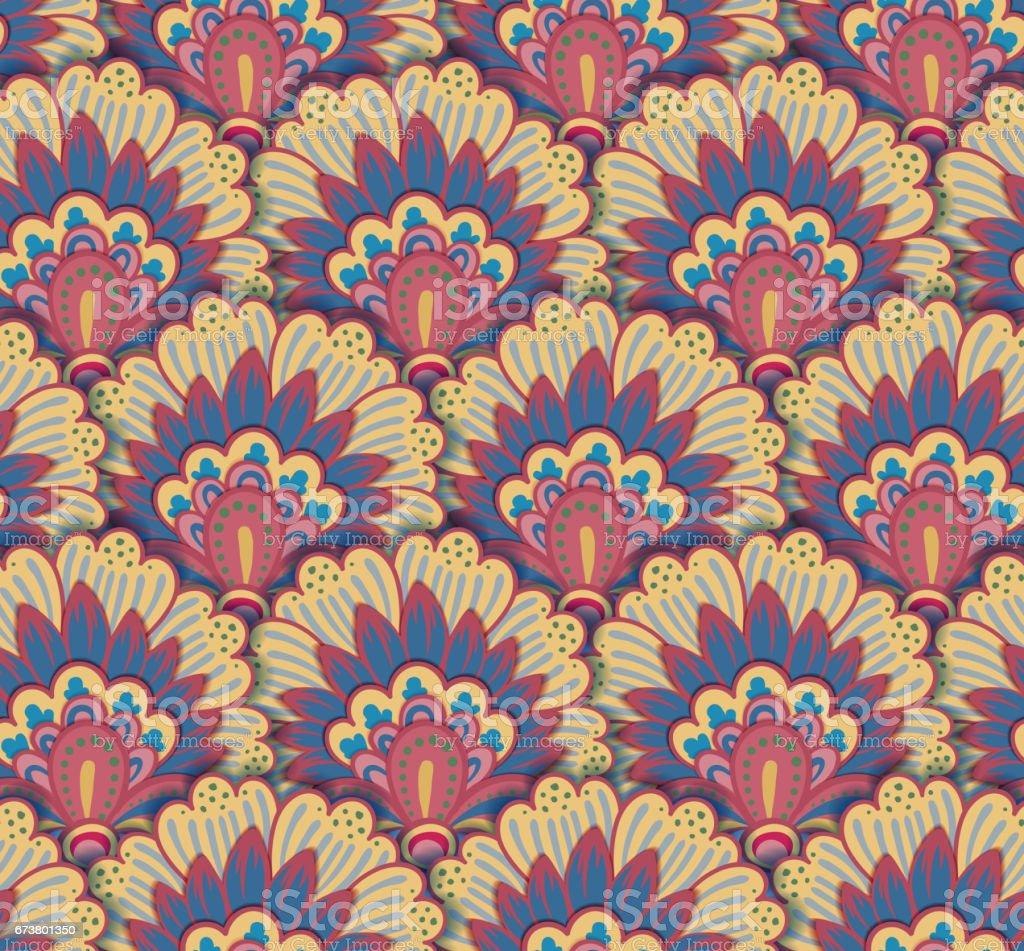 Sans soudure motif ethnique avec des motifs floraux. Mandala stylisée modèle d'impression pour tissus et le papier. Boho chic design. Mode estivale sans soudure motif ethnique avec des motifs floraux mandala stylisée modèle dimpression pour tissus et le papier boho chic design mode estivale – cliparts vectoriels et plus d'images de abstrait libre de droits