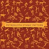 Seamless ethnic petroglyph saami pattern