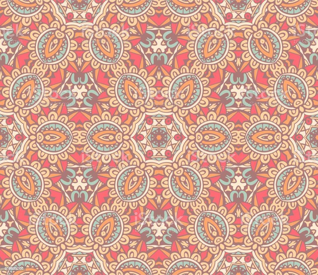 Seamless ethnic vector flowers pattern vector art illustration