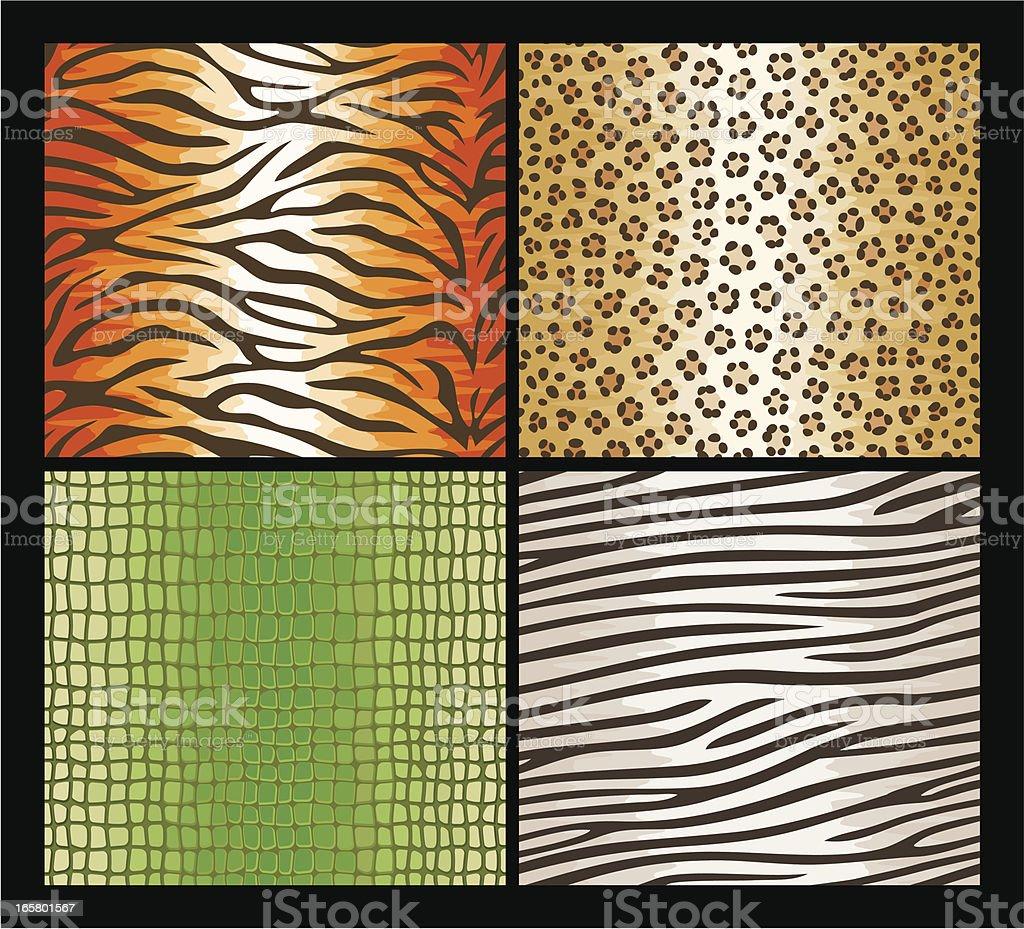 Seamless exotic animals skin patterns royalty-free stock vector art