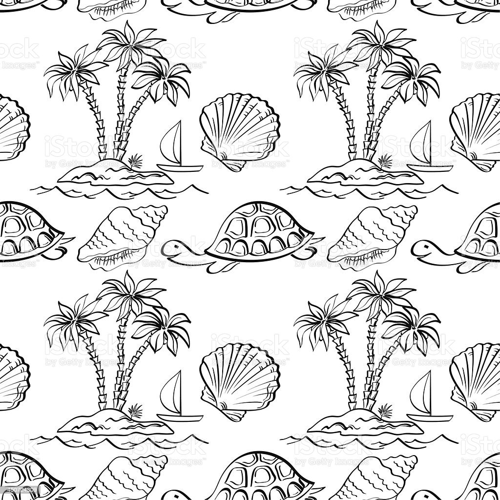 Seamless exotic pattern, outline royalty-free stock vector art