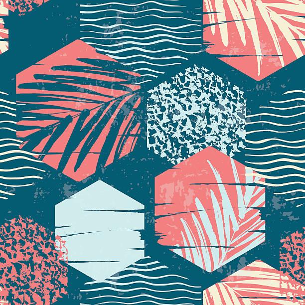 seamless exotic pattern with palm leaves on geometric background - ビーチファッション点のイラスト素材/クリップアート素材/マンガ素材/アイコン素材