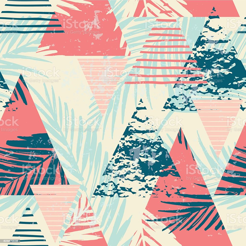 Seamless exotic pattern with palm leaves on geometric background - ilustração de arte em vetor