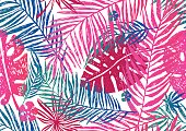Seamless exotic pattern with pink blue palm leaves on a white background. Vector illustration.