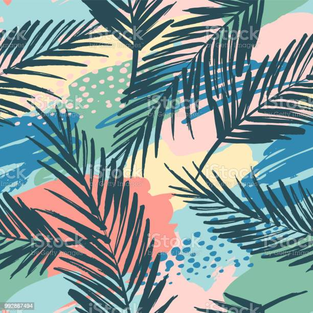 Seamless exotic pattern with tropical plants and artistic background vector id992867494?b=1&k=6&m=992867494&s=612x612&h=cncvnjemiyryld590ilypxhau7a2q8hrvobr7kyupis=