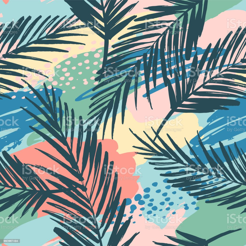 Seamless exotic pattern with tropical plants and artistic background. vector art illustration