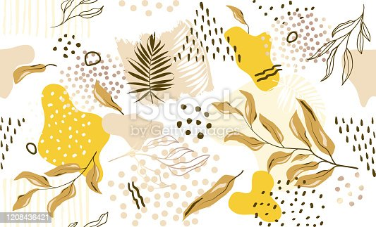 istock Seamless exotic pattern with tropical plants and gold elements. Vector 1208436421