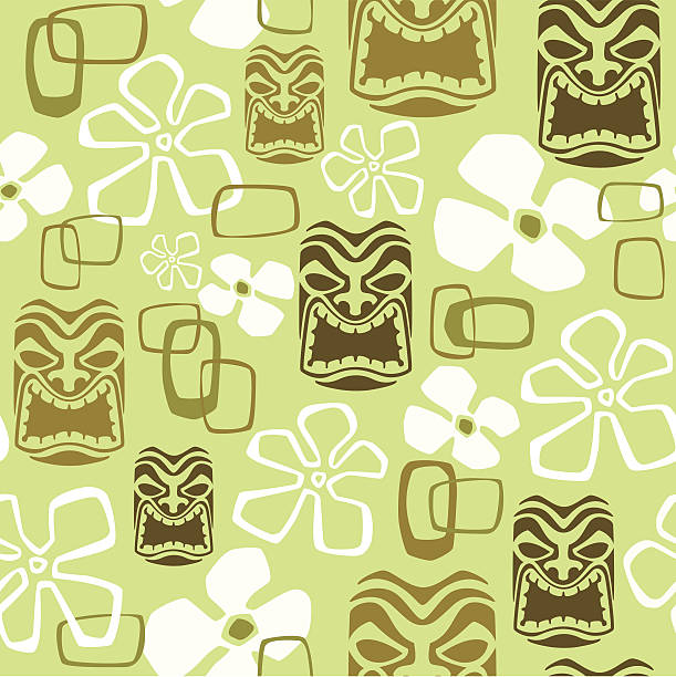 Seamless Exotic Tiki Paradise Pattern vector art illustration