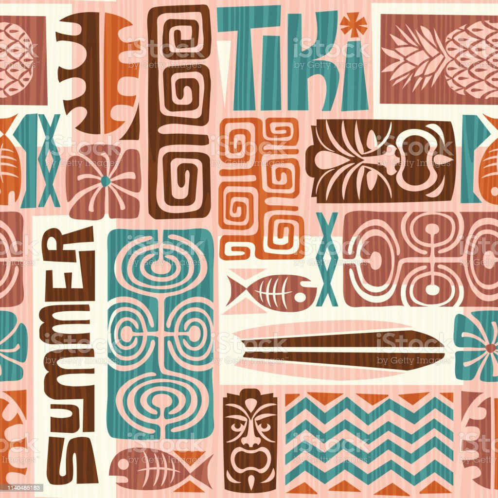 Seamless Exotic Tiki Pattern Use For Wallpaper Fabric Patterns Backgrounds Stock Illustration Download Image Now Istock