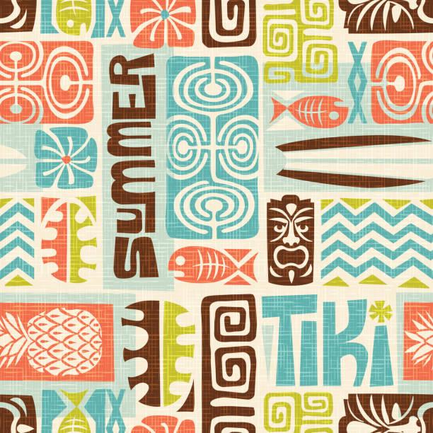 Seamless Exotic Tiki Pattern. Use for wallpaper, fabric patterns, backgrounds. Seamless Exotic Tiki Pattern. Use for wallpaper, fabric patterns, backgrounds. Vector illustration hawaiian culture stock illustrations