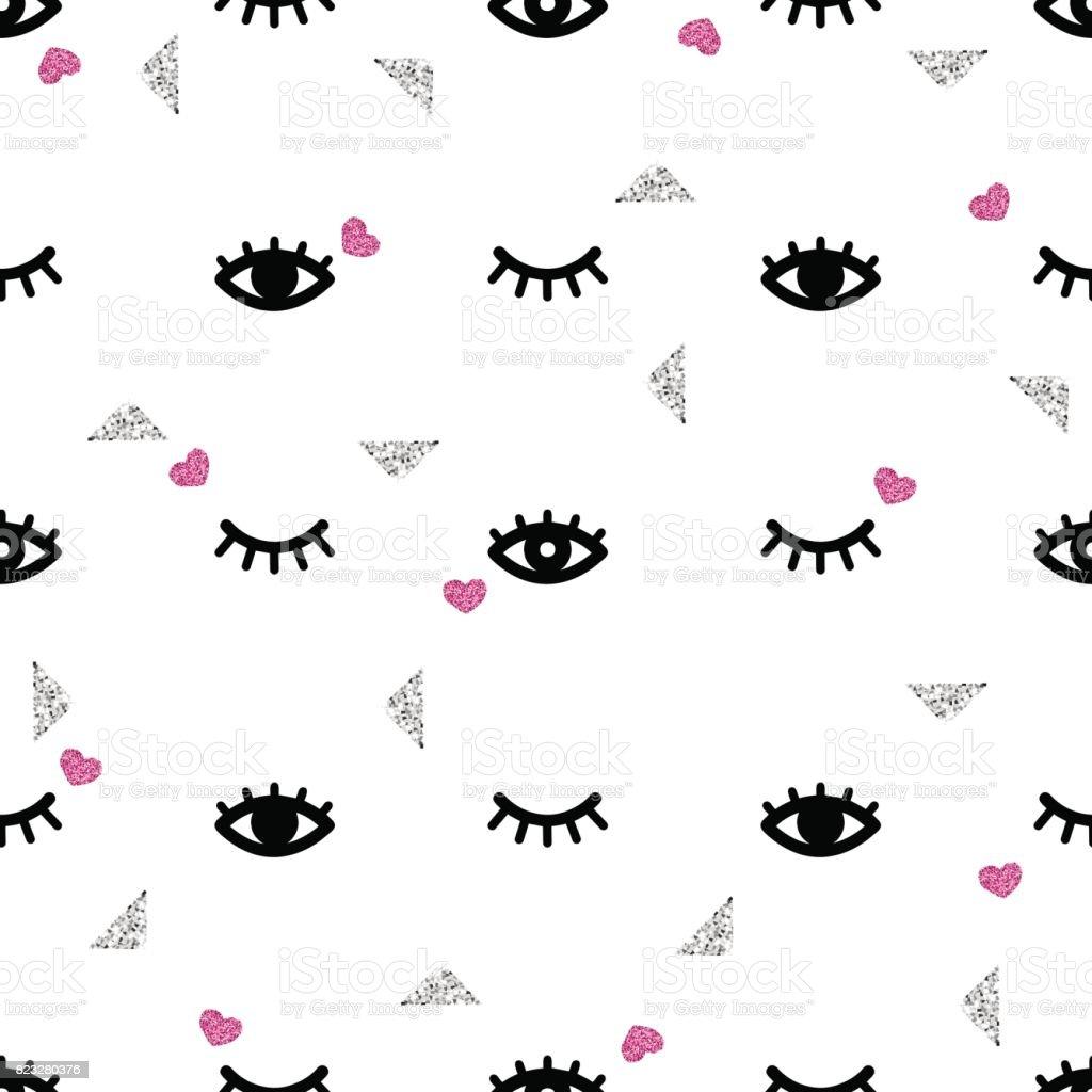 シームレスな目とパターン背景がキラキラまつげ いたずら書きの