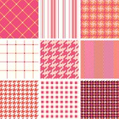 """A collection of retro textile pattern. Series of pink and orange. All design are seamless and """"pattern swatches"""" included in file, you can use them directly."""
