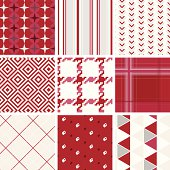 """A collection of textile/wallpaper pattern. Series of red. All design are seamless and """"pattern swatches"""" included in file, for your convenient use"""