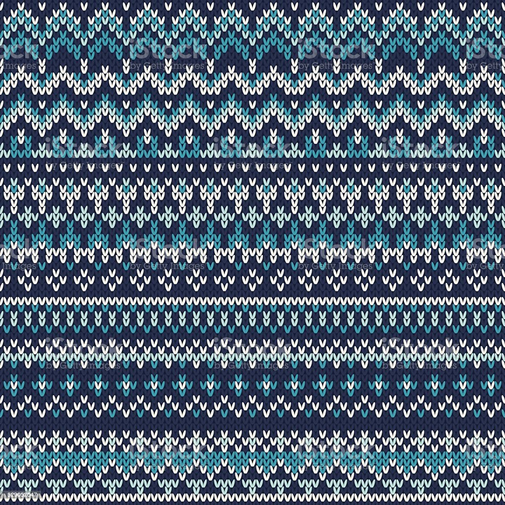 Seamless Fair Isle Knitted Pattern. Festive and Fashionable Sweater Design vector art illustration