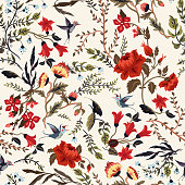 Seamless fairy floral pattern with birds