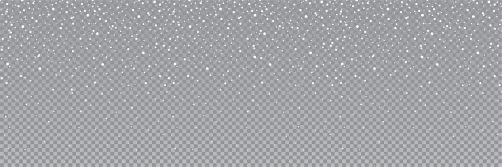 Seamless falling snow or snowflakes. Isolated on transparent background - stock vector.