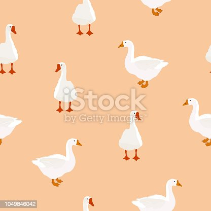 Seamless farm birds white goose pattern. Domestic geese animals simple cute print, village style drawing texture for fabric cloth, vector eps 10
