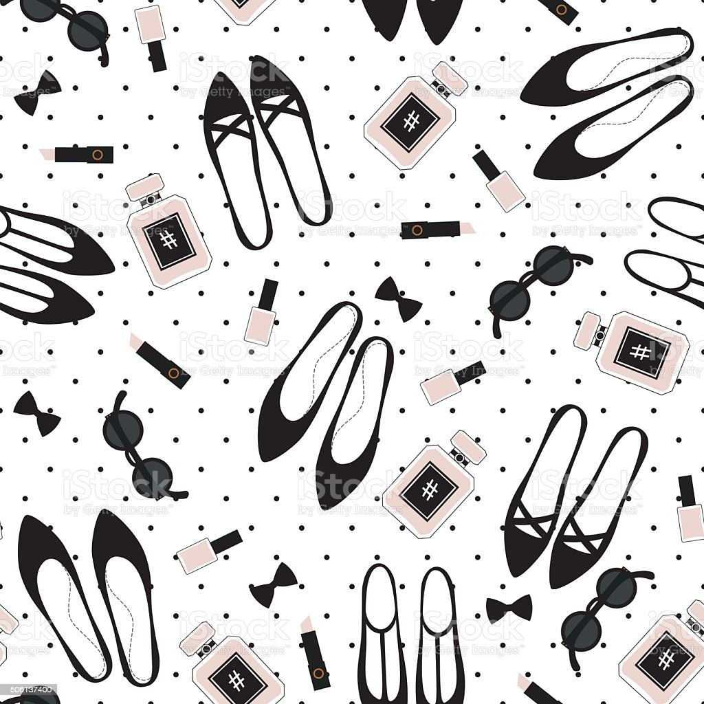 Seamless fashion accessories pattern. Cute fashion illustration vector art illustration
