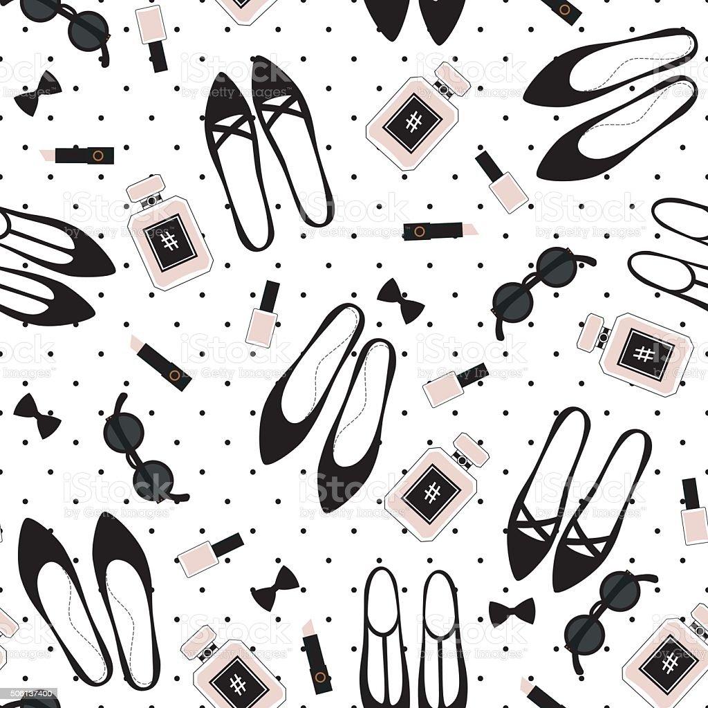 Patrón sin costuras de accesorios de moda. Linda moda medio - ilustración de arte vectorial