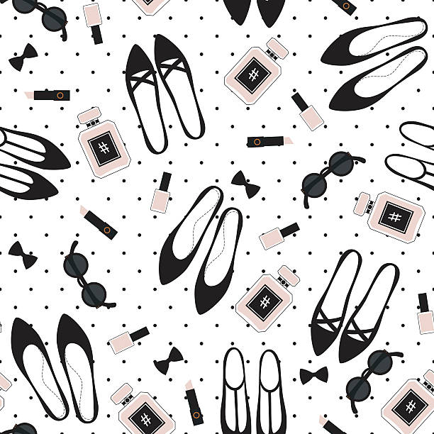 seamless fashion accessories pattern. cute fashion illustration - preppy fashion stock illustrations, clip art, cartoons, & icons